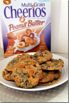 Chocolate Chip Peanut Butter Surprise Cookies - use the new Peanut Butter Cheerios I am obsessed with