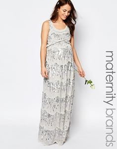 Maya Maternity Chiffon Maxi Dress With All Over Embellishment