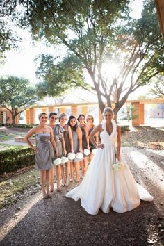 Wedding Party Pictures. Grey Bridesmaids Dresses. Halter top wedding dress. www.lipglossandlunges.com