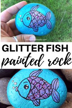 Rock Painting Ideas Discover How to Paint a Fish Painted Rock Step-by-Step Learn how to paint a rock step-by-step with a colorful and glittery fish! This fish painted rock is a fun sparkly way to play the hide and seek rock game! Rock Painting Patterns, Rock Painting Ideas Easy, Rock Painting Designs, Paint Designs, Rock Painting Ideas For Kids, Rock Painting Supplies, Rock Steps, Art Pierre, Painted Rocks Craft