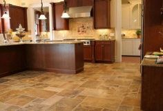 Travertine Floor Tiles For Kitchen With Wooden Cabinets : Elegant And Timeless Travertine Kitchen Tiles For The Floors Kitchen Floor Tile Patterns, Kitchen Tiles, Floors Kitchen, Kitchen Layout, Best Flooring For Kitchen, Travertine Floors, Tile Flooring, Flooring Ideas, Concrete Floors