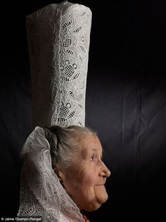 *A Bigoudene lady wearing a lace coiffe. Pays bigouden, France