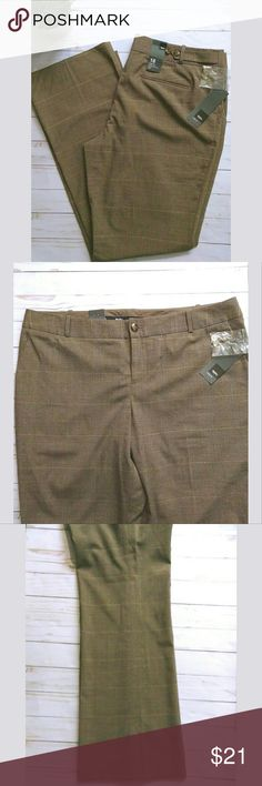 Mossimo dress trouser pants.  NWT Mossimo dress pants in a brown, tan and a touch of gold.  They are a boot cut and have some stretch to them.  These are a great pair of dress pants for work.   Pet free smoke free home. Mossimo Supply Co Pants Trousers