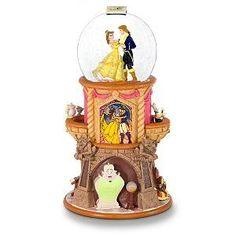 Belle and Beast as Prince dancing musical snowglobe