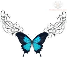 Blue Butterfly Tattoo | url=http://www.tattoostime.com/lowerback-blue-butterfly-tribal-tattoo ...