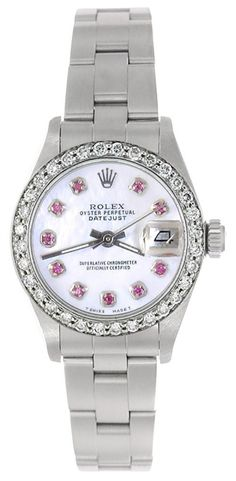 Rolex Ladies Datejust Stainless Steel White MOP Ruby Dial & Bezel - Oyster  #Rolex