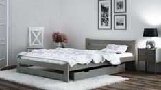 Single Bed Frame - White bed frame made of solid wood and equipped with set of slats All Modern Furniture, White Furniture, Wood Furniture, Single Wooden Bed Frames, White Wooden Bed, Pine Bedroom Furniture, Bedroom Decor, Wood Beds, White Bedding