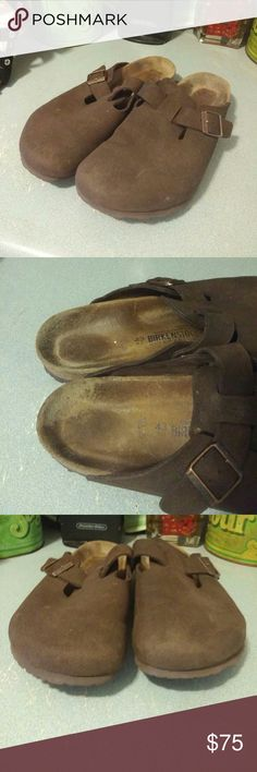 Birkenstock Boston Brown Suede Clog. Softbed 12 Birkenstock Boston Brown Suede Clog. Softbed   Sz Euro 43 / US W 12 / US M 10  Great condition. No flat spots. No heel rubbing. Toes are perfect. Light if any sole wear. Light insole wear. Birkenstock Shoes Mules & Clogs