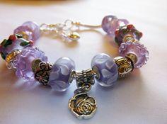 Lavender European Style Charm Bracelet for by BlingItOutLoudCharms