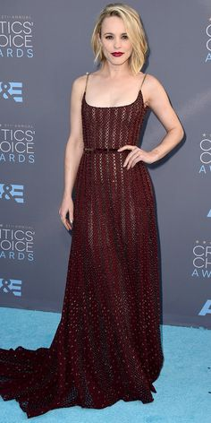 RACHEL MCADAMS The actress was gorgeous in a rich oxblood-hue gown by Elie Saab. 2016 Critics' Choice Awards: See the Unforgettable Red Carpet Looks! | InStyle.com
