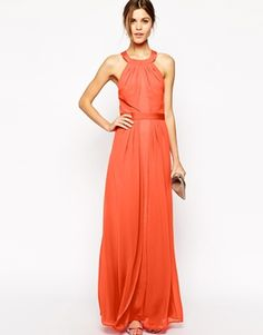 4bcd69212515 Image 2 of Warehouse Exclusive Strappy Back Maxi Dress Coral Dress