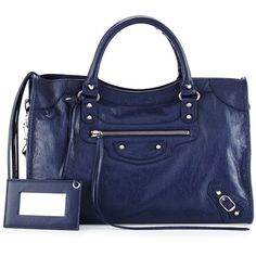 Balenciaga Classic City Lambskin Tote Bag (2,643 CAD) ❤ liked on Polyvore featuring bags, handbags, tote bags, dark blue, blue studded handbag, zip tote bag, zip tote, blue tote handbags and balenciaga tote