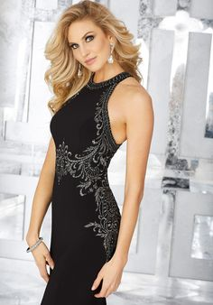 Crystal Beaded Embroidery on Jersey. Matching Stole. Colors Available: Black