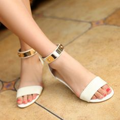 Flat Low Heel Ankle Strap White Sandals