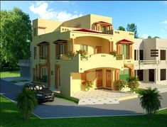 1 Kanal , 2 Kanal, House in Lahore Beautiful House Designs Front Elevation Exterior Rendering Front Window Design, House Front Design, Home Map Design, Home Design Plans, House Elevation, Front Elevation, Double Storey House, India House, Building Front