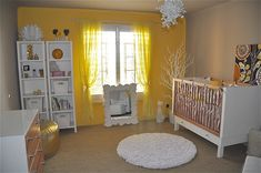 Yellow and grey nursery -- one wall with bold color?