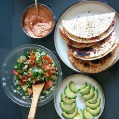 Quesadillas with Salsa Fresca and Taco Sauce