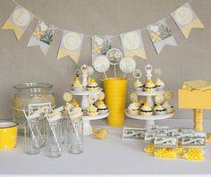 @ Hilary Grey & Yellow Bridal Shower Decoration Idea