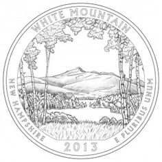 New Hampshire's White Mountain National Forest Silver Coins  Designed and executed by Phebe Hemphill, the White Mountain National Forest Silver Coin depicts a view of Mt. Chocorua that is offset by birch trees.