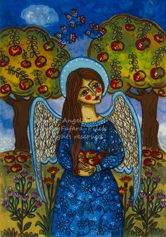 The angel with the apples fine folk art giclee print picture image country nature fall autumn orchard tree gold fruit colorful Christmas flower cheerful merry gift girl boy present souvenir christening birth religious catholic traditional rustic scenery bird vivid leaf leaves holy communion baptism handmade craft rural wings colourful wall decoration blue stylish romantic