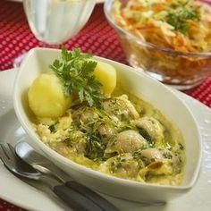 Strömmingslåda med kaviar och gräslök Potato Salad, Meat, Chicken, Ethnic Recipes, Journal, Caviar, Cubs