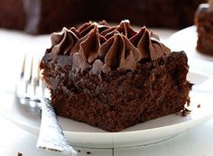 I love the frosting on this Zucchini Double Chocolate Cake!