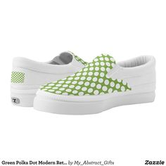 Green Polka Dot Modern Retro Abstract Pattern Slip-On Sneakers - Canvas-Top Rubber-Sole Athletic Shoes By Talented Fashion And Graphic Designers - #shoes #sneakers #footwear #mensfashion #apparel #shopping #bargain #sale #outfit #stylish #cool #graphicdesign #trendy #fashion #design #fashiondesign #designer #fashiondesigner #style