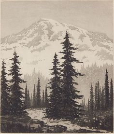 Harold Doolittle (American ''Glacial Snows''- aquatint, ca. signed and titled in pencil. Tree Drawings Pencil, Landscape Pencil Drawings, Landscape Sketch, Watercolor Landscape, Landscape Art, Mountain Drawing, Mountain Tattoo, Painting & Drawing, Watercolor Paintings
