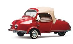 """1955 Kroboth Allwetter-Roller. The Allwetter-Roller (""""All Weather Scooter) had a convertible top to provide an, albeit weak, defense against the rain. Production began in 1954 and ended a year later. In total, 55 were built and they used a 175cc single-cylinder engine making nine horsepower."""