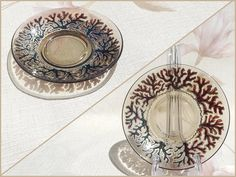 RichanaDragon ||| Magic winter forest. Glass plate (bowl candle holder). Pattern is about bare branches sparkling under hoarfrost. Hand painted stained glass.  ||| Sold out.