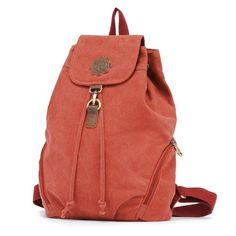 2013 new canvas retro casual shoulder bag female college style bag fashion women bag schoolbag backpack .Color: Watermelon red