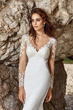 Eddy K bridal 2017 long sleeves v neck sheath wedding dress (isandra) mv