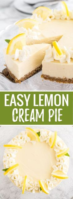 This easy NO-BAKE Lemon Cream Pie is full of lemon flavor and made with only a few ingredients! An easy-to-prep lemon pie recipe that comes together in minutes.