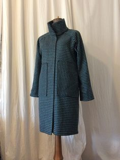Wool wintercoat with turquoise pattern HAVRAN Turquoise Pattern, Unique Outfits, Raincoat, High Neck Dress, Wool, Jackets, Clothes, Dresses, Fashion