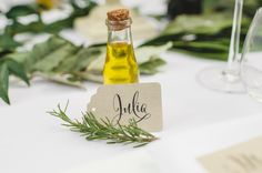 DIY rosemary olive oil favors!  precious tags by Empress Stationery | photo via Spindle Photography | styling by Elle Affairs