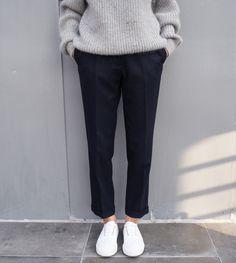 Ribbed, gray sweater, ankle length black slacks + bright white sneakers