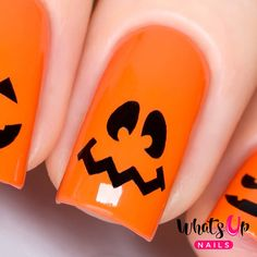 Pumpkin Faces Stencils for Nails Halloween Nail by WhatsUpNails