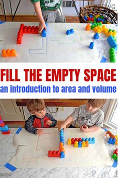Fill the Empty Space — Days With Grey An easy introduction to area and volume with preschool and pre-k kids! Using blocks to fill in the space- an easy and effective math center for little ones! Space Activities, Preschool Learning Activities, Kids Learning, Activities For 4 Year Olds, Space Preschool, Play Based Learning, Summer Activities, Family Activities, Toddler Fun