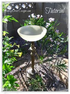 Re-purposed Lamp Base Into Bird Bath