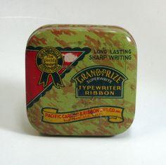 "Vintage ""Grand Prize Brand""  Square Typewriter Ribbon Tin by CanemahStudios on Etsy"