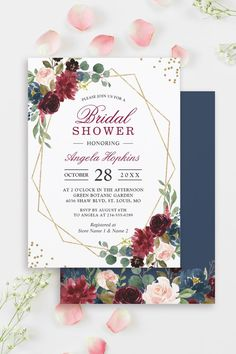 Burgundy Floral with Navy Blue Colors is one of the most popular theme for Weddings. We created amazing custom invitation designs offering a fully coordinating wedding suite for this theme from Invitations to RSVP card, Information Card, Labels, Sign Posters and more. #bridalshower Bridal Shower Invitations, Custom Invitations, Navy Blue Color, Blue Colors, Wedding Suits, Botanical Gardens, Invitation Design, Floral Wedding, Rsvp