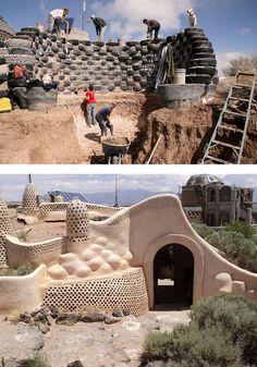 Construyendo casas con gomas de autos