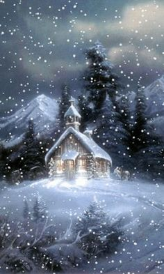 A beautiful animated winter GIF. In this GIF snow falling on a church. Its a cool screen saver and also a very special GIF for Christmas. Winter Gif, Winter Scenery, Winter Night, Winter Snow, Noel Christmas, Vintage Christmas Cards, Christmas Images, Winter Christmas, Animated Christmas Pictures