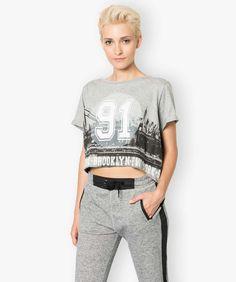 Tee shirt cropped imprimé
