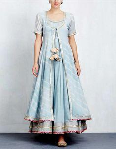 Sky Blue Leheriya Jacket with Anarkali Set Indian Gowns Dresses, Indian Fashion Dresses, Indian Designer Outfits, Pakistani Dresses, Indian Outfits, Designer Dresses, Party Wear Indian Dresses, Flapper Dresses, Kurta Designs Women