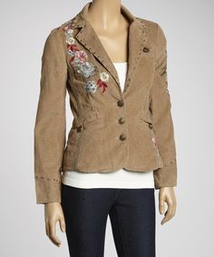 Take a look at this Shabri Fashions Beige Floral Embroidered Blazer on zulily today!