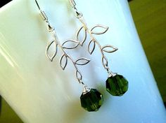 Leaves with Green Earrings  swarovski crystal  by LaLaCrystal, $18.50
