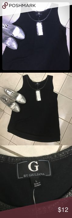 G by Giuliana High-Low Black Tank, Snakeskin Neck Cute and soft black tank with snakeskin detailing around the neckline. New with tags! G by Giuliana Tops