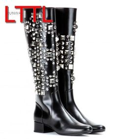 (115.90$)  Watch now  - New 2017 Winter Woman Boots With Spike Stud Leather Booties Flat Heel Knee High Gladiator Boots Shoes Female Fashion bota