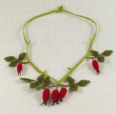 """Rose hip"" silk lace jewelry necklace | millefleurs lace"